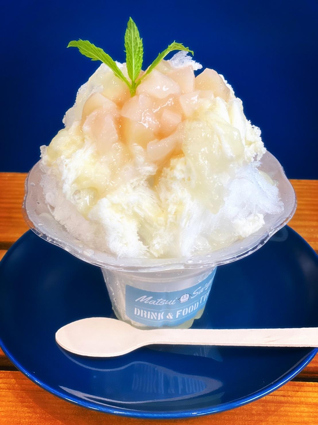 Matsui Sangyou's 自家製Wソース桃ミルクかき氷